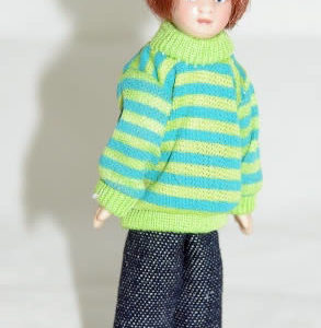 Boy  blue and white  striped jumper/ blue jeans ( colour change)