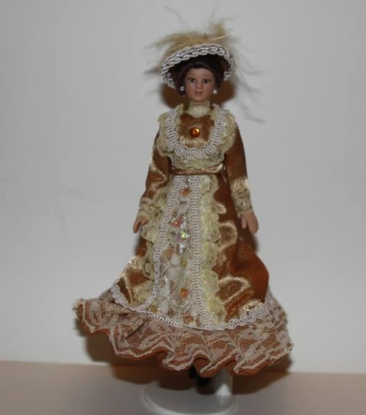 Porcelain Lady in beige satin dress