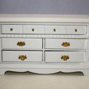 White timber 5 drawer dresser