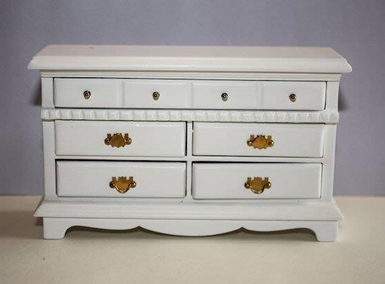 White timber 5 drawer dresser