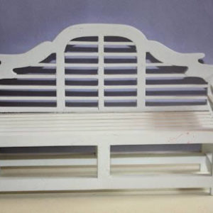 White timber park bench
