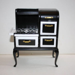 Black timber stove with white top