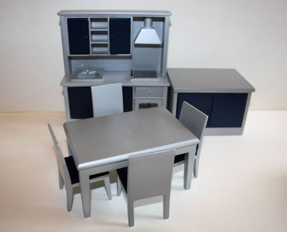Silver and blue 7 pce kitchen set
