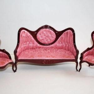 Mahogany 3pce pink Victorian lounge