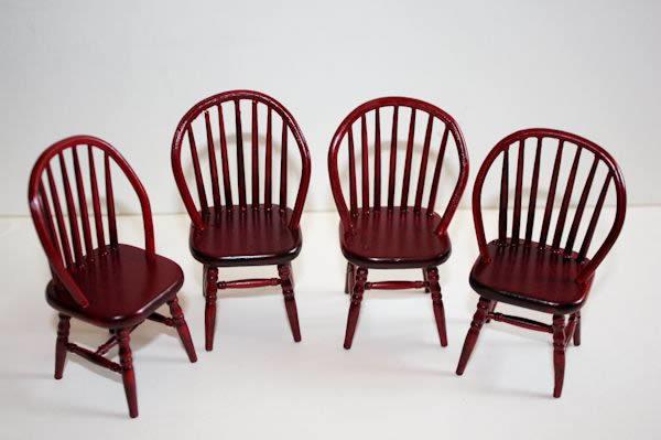 Mahogany spindle back chairs set 4