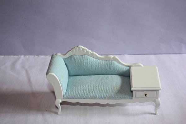 White Fabric Bedroom Chair: White Chaise Lounge With Blue Fabric Top