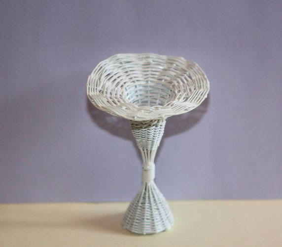 White wire standing flower  basket