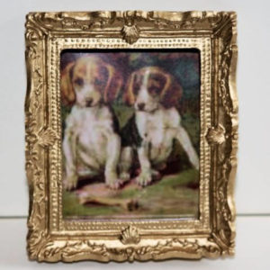 Gold framed 2 dogs  Beagle