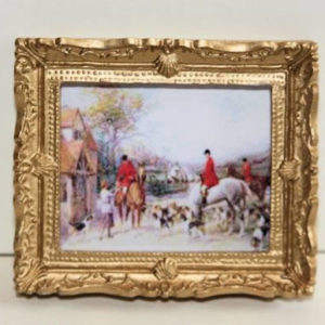 Hunting scene in ornate gold frame