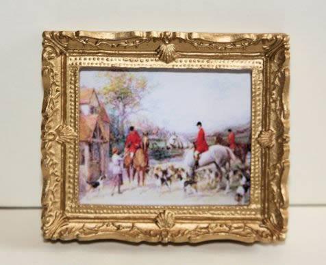 Hunting scene in ornate gold frame