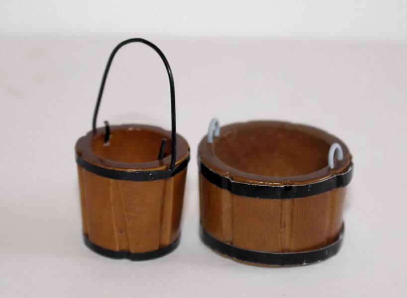 Brown  wash tub and bucket