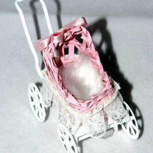 Cane pram, pink and white