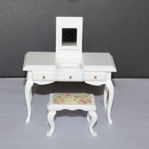 White timber vanity table with stool