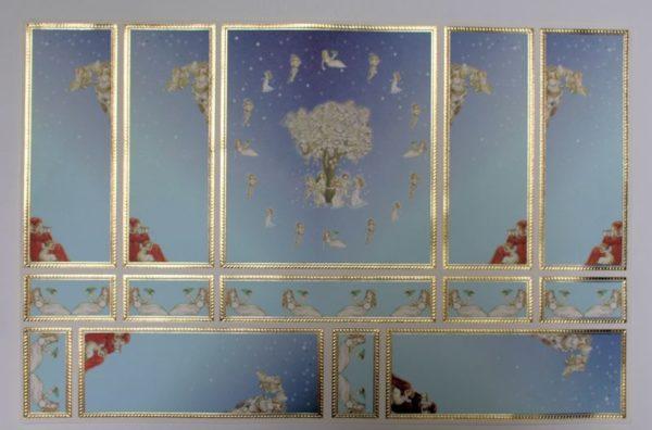 Pale blue  cherub wall panels