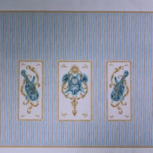 Pale blue music room wallpaper