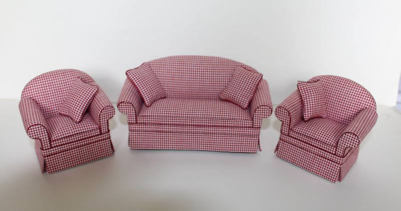 3 pce red and white check lounge set