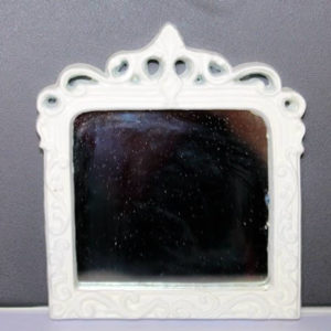 White resin wall mirror