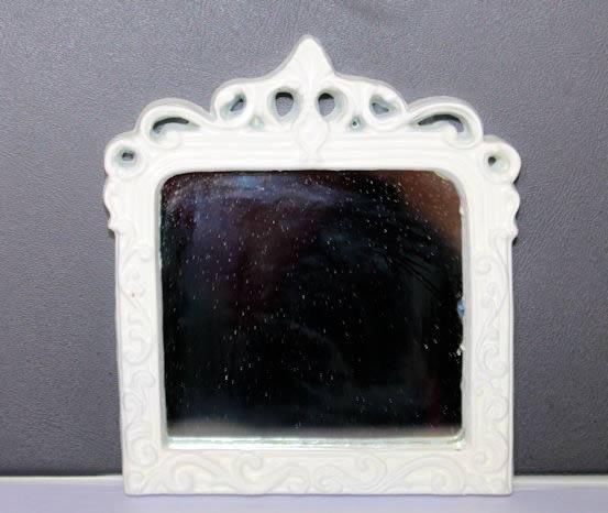 White resin wall mirror
