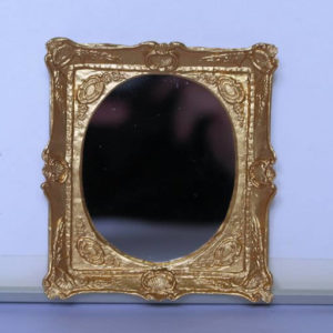 Rect. gold framed oval mirror