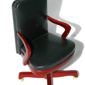 Office chair, black leather and mahogany