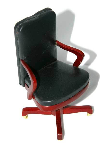 office chair black leather and mahogany