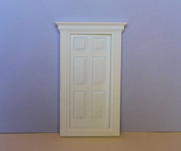 White plastic 6 panel georgian door 1:24