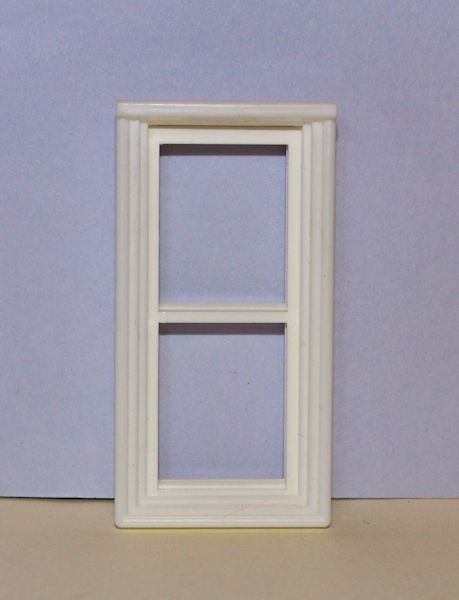 White plastic 2 pane window frame 1:24