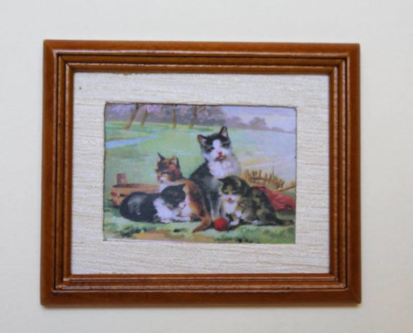 Brown timber framed 4 kitten picture