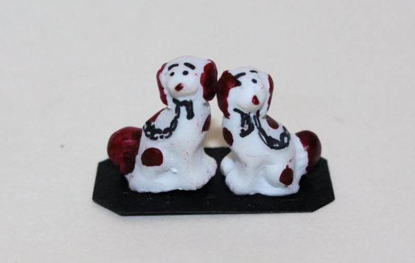 Pair Mini Staffordshire dogs -
