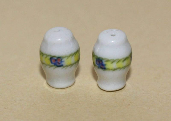 Salt and pepper shakers- blue and yellow trim