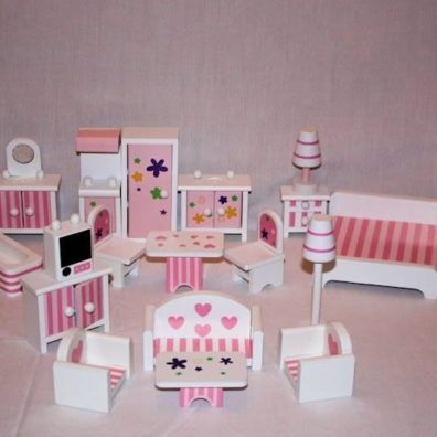 20 Pce Pink and White Wooden Furniture Set
