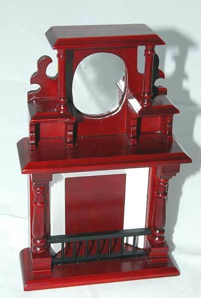 Mahogany fireplace with mirror