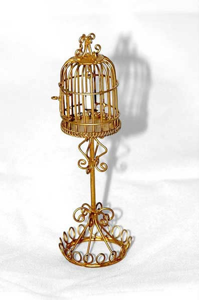 Gold wire bird cage, tall