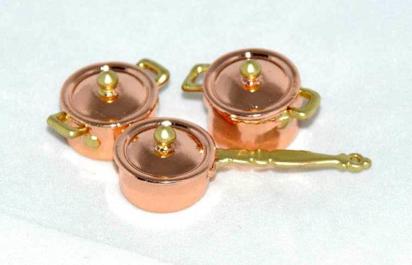 3 piece copper pot set