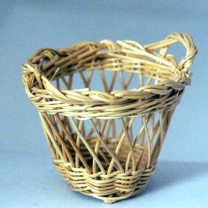 Woven cane round basket
