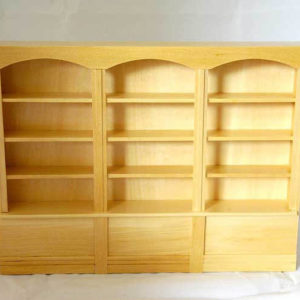 Pine timber wall cabinet, 3 sections