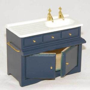 Blue and white kitchen  sink