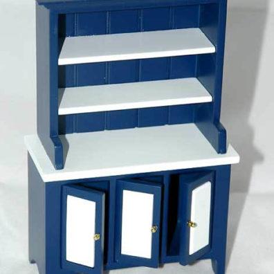 Blue and white kitchen  hutch,