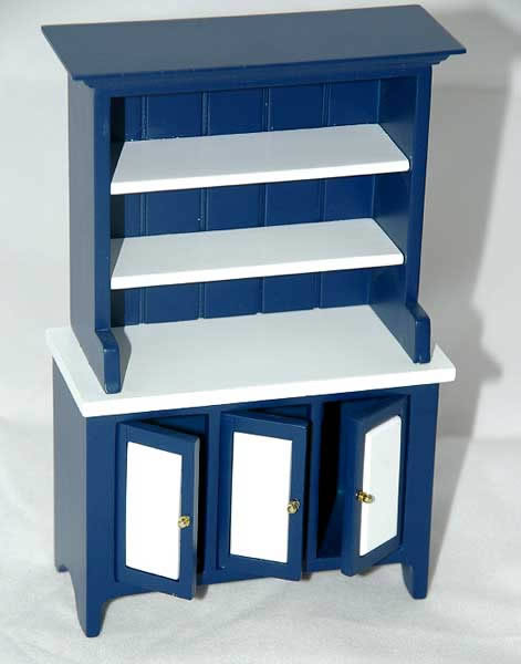 Blue and white kitchen  hutch,