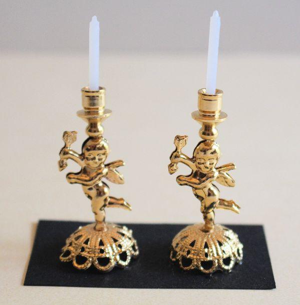 Pr. Gold Cupid Candlesticks