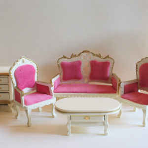 Lounge room set, cream with pink velvet