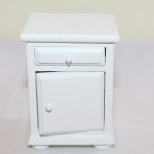Bedside cabinet, white timber