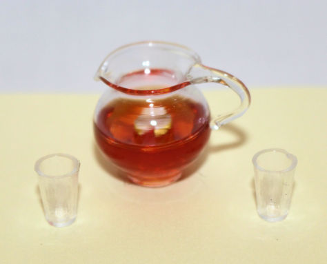 Glass  Jug with Red Cordialand 2 glasses