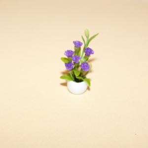 White Vase with Purple Flowers